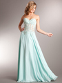AC711 Sweetheart Evening Dress - Aqua, Front View Thumbnail