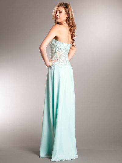 AC711 Sweetheart Evening Dress - Aqua, Back View Medium