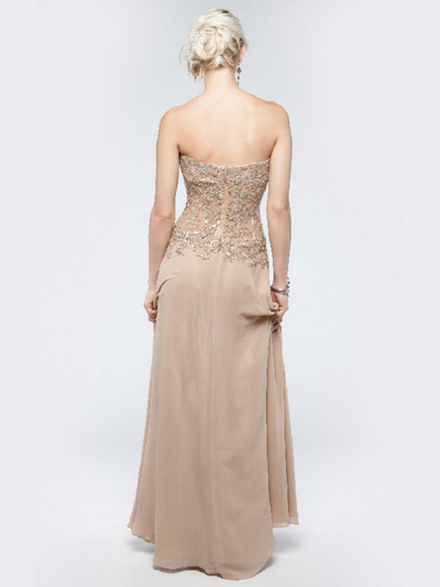 AC711 Sweetheart Evening Dress - Champagne, Back View Medium