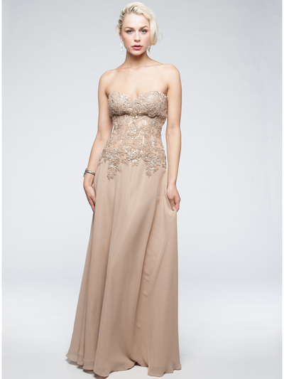 AC711 Sweetheart Evening Dress - Champagne, Front View Medium