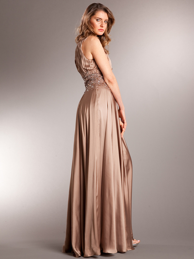 AC714 Take This Waltz Satin Evening Dress - Mocha, Back View Medium
