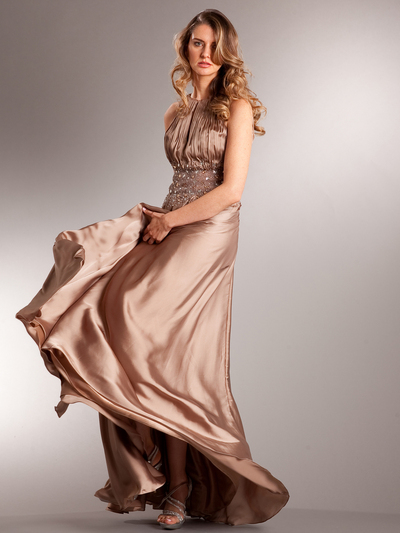 AC714 Take This Waltz Satin Evening Dress - Mocha, Front View Medium