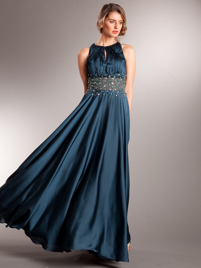 AC714 Take This Waltz Satin Evening Dress - Teal, Front View Medium