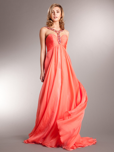 AC715 Beaded Strap Halter Chiffon Evening Dress - Coral, Front View Medium