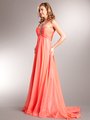 AC715 Beaded Strap Halter Chiffon Evening Dress - Coral, Alt View Thumbnail