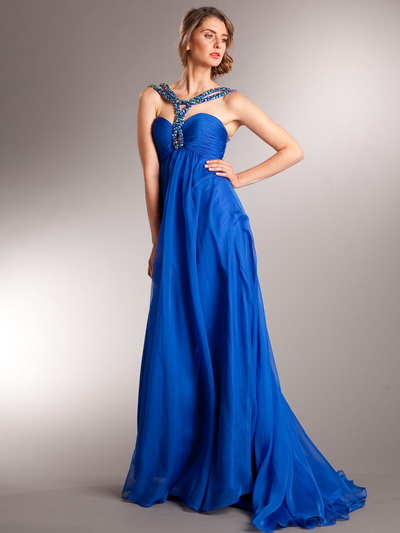 AC715 Beaded Strap Halter Chiffon Evening Dress - Royal Blue, Front View Medium