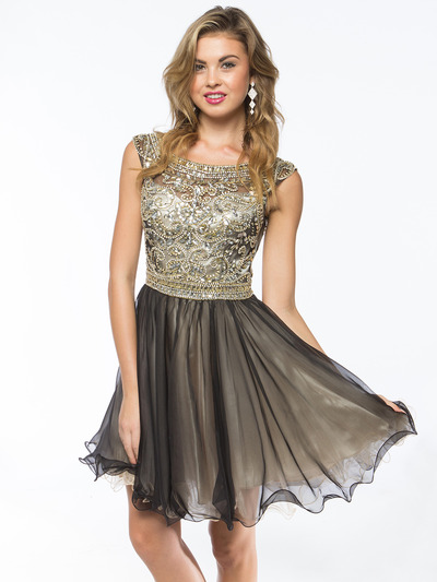 AC719 Beads and Sequin Bodice Homecoming Dress - Black Champagne, Front View Medium