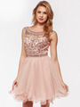 AC719 Beads and Sequin Bodice Homecoming Dress - Blush, Front View Thumbnail