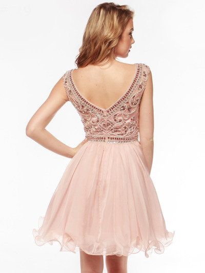 AC719 Beads and Sequin Bodice Homecoming Dress - Blush, Back View Medium