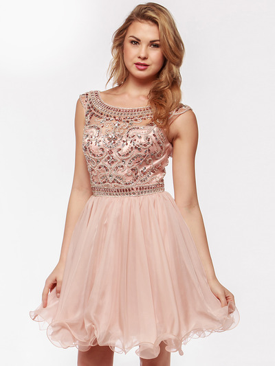 AC719 Beads and Sequin Bodice Homecoming Dress - Blush, Front View Medium