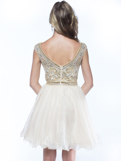 AC719 Beads and Sequin Bodice Homecoming Dress - Champagne, Back View Medium