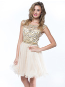 AC719 Beads and Sequin Bodice Homecoming Dress, Champagne