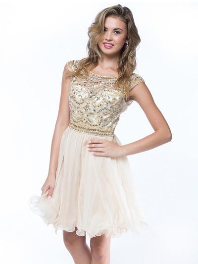 AC719 Beads and Sequin Bodice Homecoming Dress - Champagne, Front View Medium