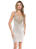 Heart On Fire Embellished Holiday Party Dress