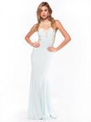 Illusion Neckline Evening Dress with Emboridery Trim