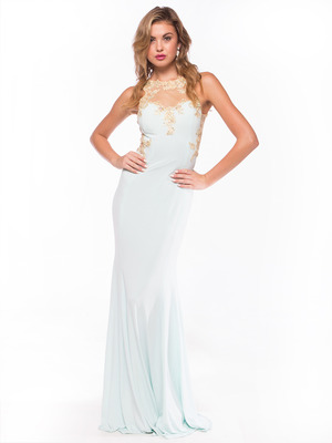 AC724 Illusion Neckline Evening Dress with Emboridery Trim, Aqua