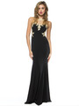 AC724 Illusion Neckline Evening Dress with Emboridery Trim - Black, Front View Thumbnail