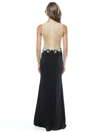 AC724 Illusion Neckline Evening Dress with Emboridery Trim - Black, Back View Medium