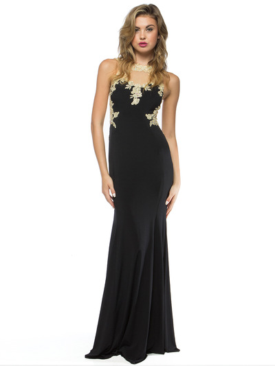 AC724 Illusion Neckline Evening Dress with Emboridery Trim - Black, Front View Medium