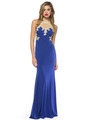 AC724 Illusion Neckline Evening Dress with Emboridery Trim - Royal, Front View Thumbnail