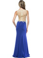 AC724 Illusion Neckline Evening Dress with Emboridery Trim - Royal, Back View Thumbnail