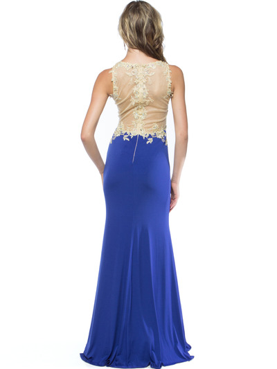 AC724 Illusion Neckline Evening Dress with Emboridery Trim - Royal, Back View Medium