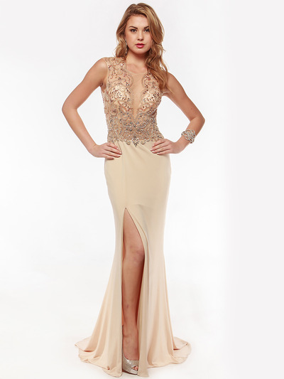 AC729 Sleeveless Illusion Bodice Evening Dress - Nude, Front View Medium
