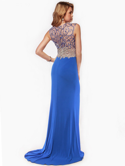 AC729 Sleeveless Illusion Bodice Evening Dress - Royal Blue, Back View Medium