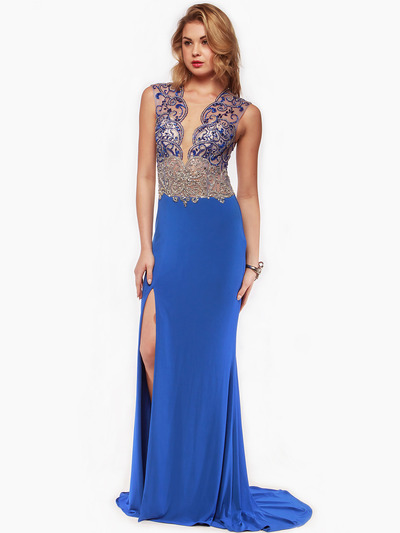 AC729 Sleeveless Illusion Bodice Evening Dress - Royal Blue, Front View Medium