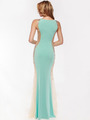 AC732 Illusion Panel Evening Dress        - Aqua, Back View Thumbnail