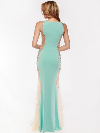 AC732 Illusion Panel Evening Dress        - Aqua, Back View Medium