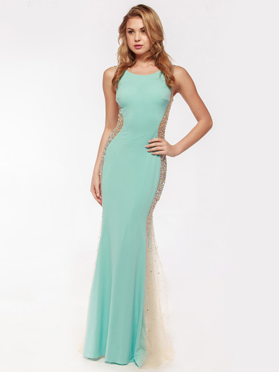 AC732 Illusion Panel Evening Dress        - Aqua, Front View Medium