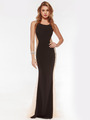 AC732 Illusion Panel Evening Dress        - Black, Front View Thumbnail