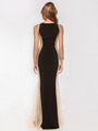 AC732 Illusion Panel Evening Dress        - Black, Back View Thumbnail