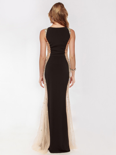 AC732 Illusion Panel Evening Dress        - Black, Back View Medium