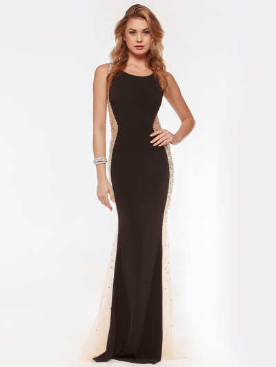 AC732 Illusion Panel Evening Dress        - Black, Front View Medium