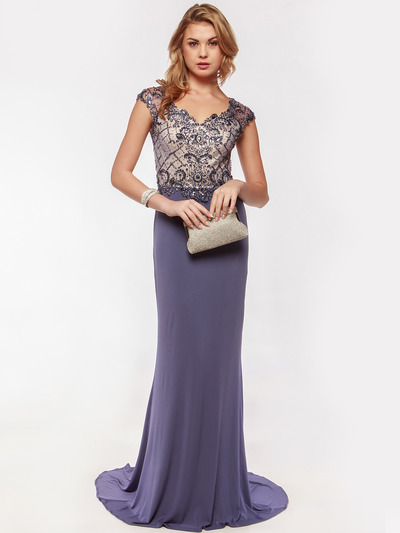 AC733 Jeweled Embroidery Evening Dress   - Dusty Blue, Front View Medium