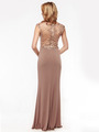 AC733 Jeweled Embroidery Evening Dress   - Mocha, Back View Thumbnail