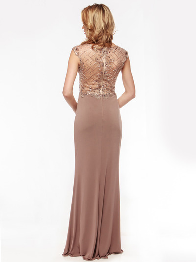 AC733 Jeweled Embroidery Evening Dress   - Mocha, Back View Medium