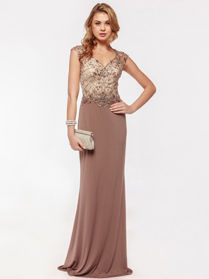 AC733 Jeweled Embroidery Evening Dress  , Mocha