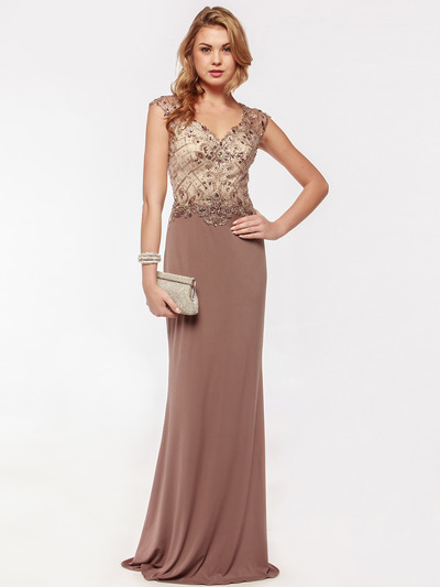 AC733 Jeweled Embroidery Evening Dress   - Mocha, Front View Medium