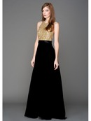 AC801 Sequins Top Sleeveless Evening Dress, Gold