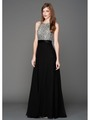 AC801 Sequins Top Sleeveless Evening Dress - Silver, Front View Thumbnail