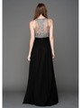 AC801 Sequins Top Sleeveless Evening Dress - Silver, Back View Thumbnail