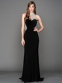AC802 Jeweled Neck Sweetheart Evening Dress with Train - Black, Front View Thumbnail
