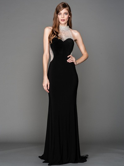 AC802 Jeweled Neck Sweetheart Evening Dress with Train - Black, Front View Medium