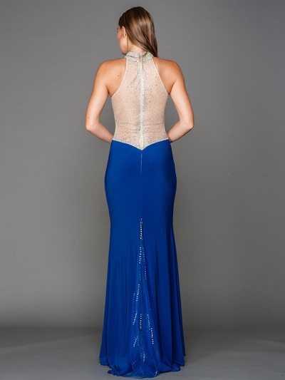 AC802 Jeweled Neck Sweetheart Evening Dress with Train - Royal Blue, Back View Medium
