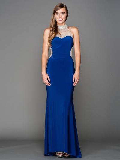 AC802 Jeweled Neck Sweetheart Evening Dress with Train - Royal Blue, Front View Medium