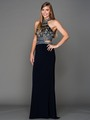 AC804 Halter Jeweled Top Evening Dress - Navy, Front View Thumbnail