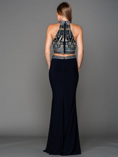 AC804 Halter Jeweled Top Evening Dress - Navy, Back View Medium
